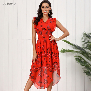Lossky Summer Women Vintage Printed Red Chiffon Long Dress Fashion Ruffles New 2020 Elegant Dresses For Women Clothes Bohemian new slender and large size printed dresses for women in summer of 2019 fashion new type a medium length dress sexy top
