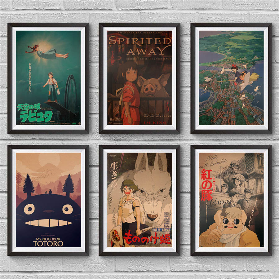 Hayao Miyazaki Movie Poster Vintage Wall Sticker Comic Cartoon Cafe Home Decor Retro Kraft Paper Antique Drawing 42x30cm image