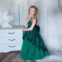Custom Green Flower Girl Dress Lace Applique O Neck Kids Clothes with Bow Girls Birthday Dress Party Gown