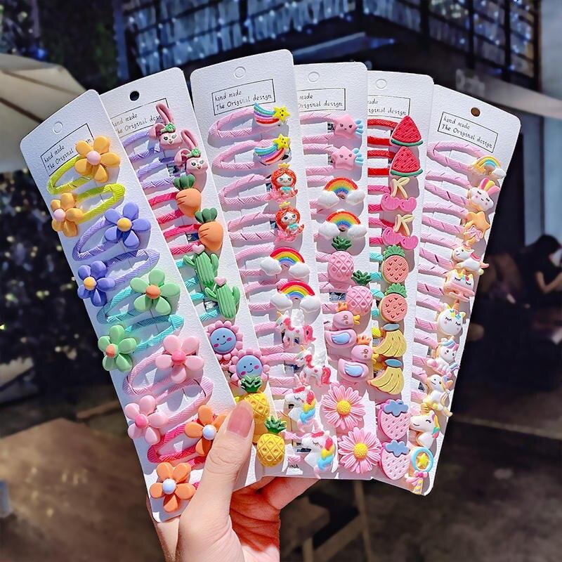 Barrettes Hairpins Hair-Accessories Unicorn Flower Sweet Girls Cute Kids Cartoon Fashion