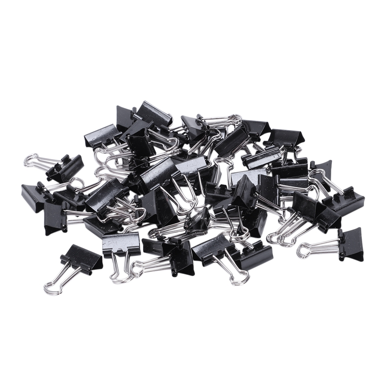 48Pcs/pack Paper Clip Foldback 15mm Metal Binder Clips Black Grip Clamps Office School Stationery Paper Document Clips