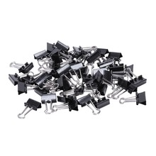 Foldback clipes 48 unidades/pacote clipe de papel foldback 15mm metal fichário grampos aperto preto grampos escritório escola papelaria