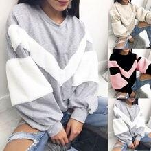 Goocheer New Warm Women Plush Sweatshirt Stitching Long Sleeve Patchwork Pullover Tops Jumper