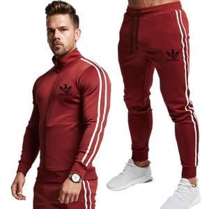 Image 4 - Gloednieuwe Rits Mannen Sets Mode Herfst winter Jas Sporting Suit Hoodies + Joggingbroek 2 Stuks Sets Slanke Trainingspak kleding