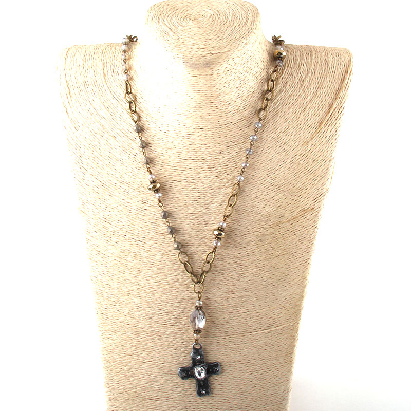 Модные богемные ювелирные изделия Античный камень цепочка со стразами кристалл кулон ожерелье s для женщин национальное ожерелье - Окраска металла: 8