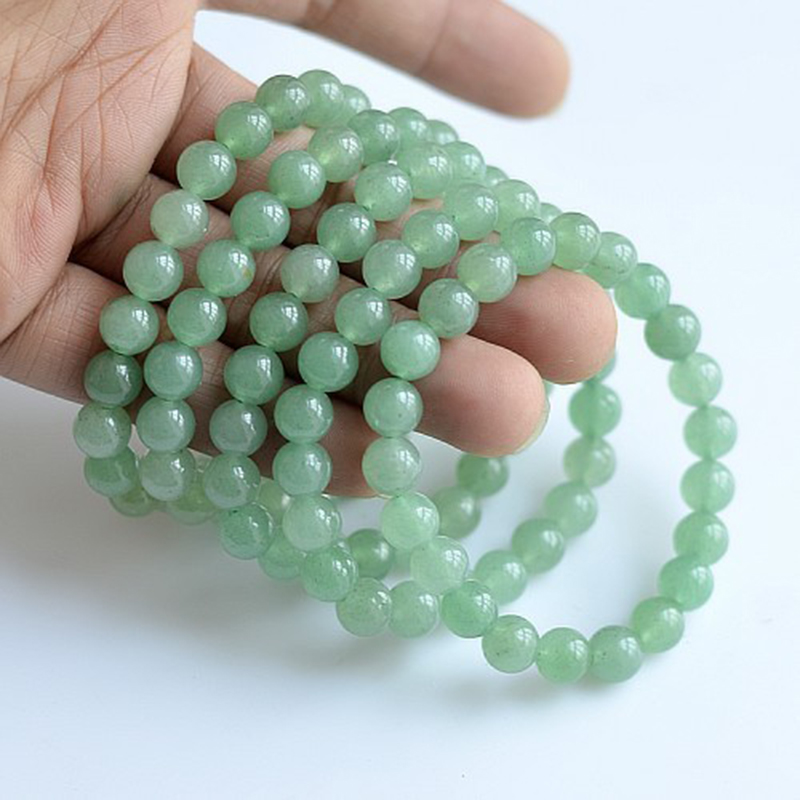 MOROW 100% Natural Green Aventurine Round Bead Stone Bracelet Jewelry Simple Women`s Men Bracelets Fashion Classic Accessory New (8)