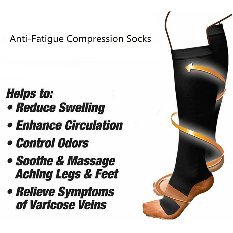 1 Pair Sports Socks Unisex Professional Compression Socks Breathable Anti Swelling Fatigue Pain Relief High Stockings Sportswear