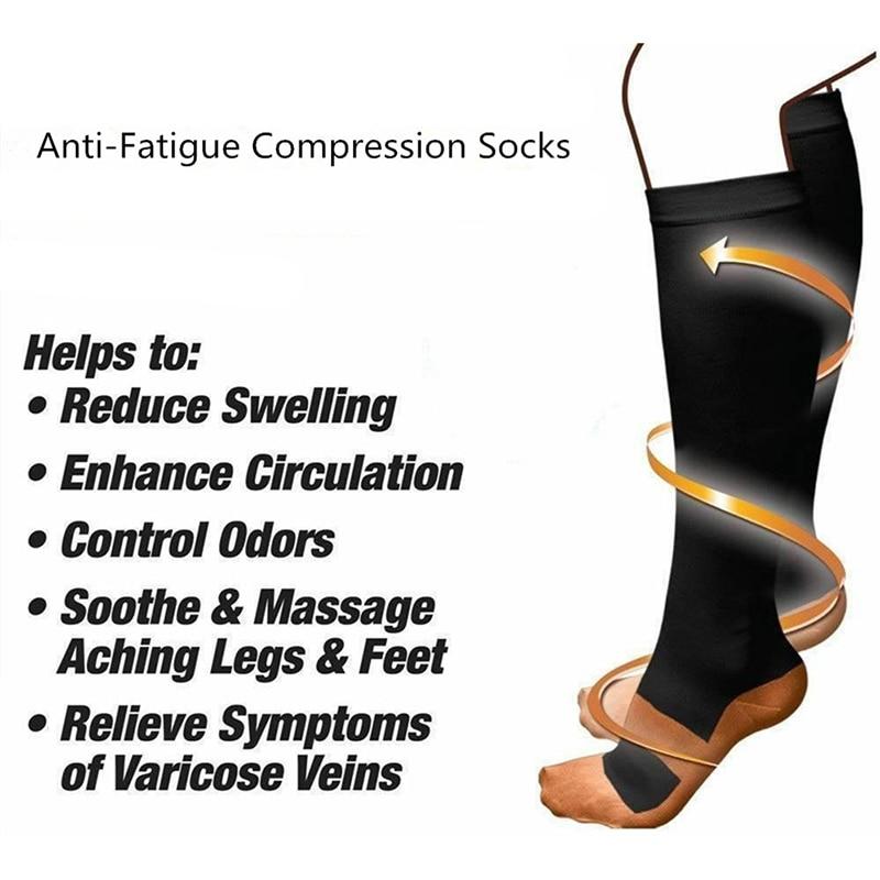 1 пара спортивных носков унисекс, профессиональные Компрессионные носки, дышащие, против отеков, усталости, облегчения боли, высокие чулки, ...