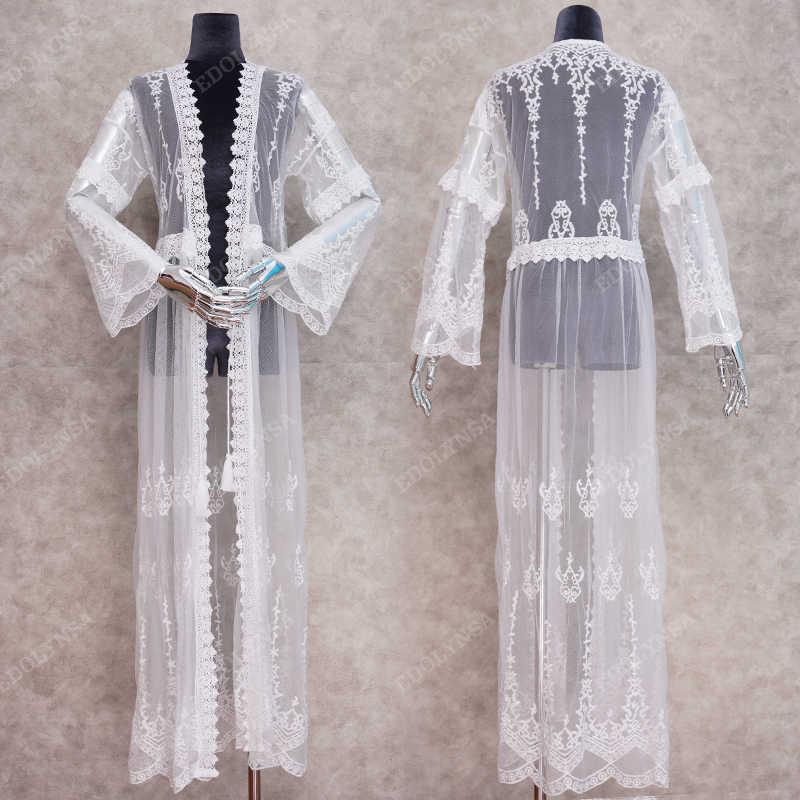 2020 elegante Abdeckung-ups Sexy Tiefem V-ausschnitt Sommer Strand Kleid Weiß Spitze Tunika Frauen Bademode Badeanzug Cover Up Robe de plage Q948