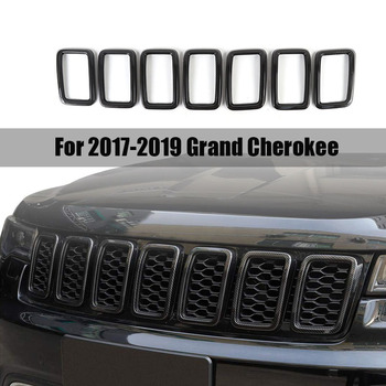 7Pcs Front Grille Grill Inserts Cover,Grill Cover Trim Kit for 2017-2019 Jeep Grand Cherokee Carbon Fiber