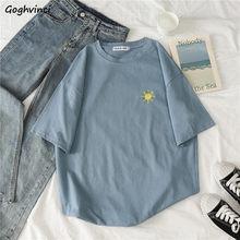 T-shirts à manches courtes pour femmes, broderie col rond, Simple, doux, Style coréen, tendance, femmes, filles, Harajuku chic