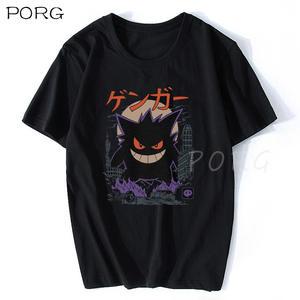 Gengar Kaiju японский стиль Покемон футболка Эстетическая Готическая Мужская футболка хлопок короткий рукав o-образный вырез топы футболки Мода ...