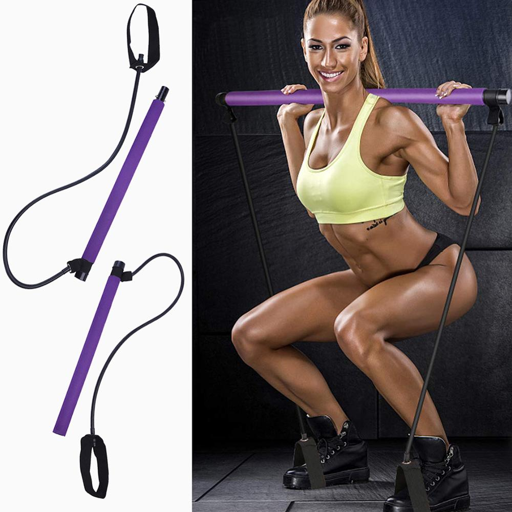 Portable Yoga Pull Rods For Pilates Exercise Stick Toning Bar Fitness Home Yoga Gym Body Abdominal Resistance Bands Rope Puller