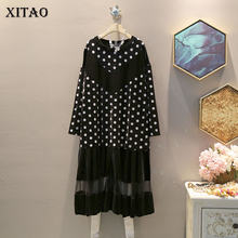 XITAO Small Flower Print Splice Mesh Ladies Dresses Velvet Plus Size Dress Women Fashion Korean Style Elegant Clothes GCC2266(China)