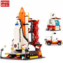 679Pcs City Spaceport Space Shuttle Launch Center Building Blocks Sets Brinquedos Technic Bricks Educational Toys For Children