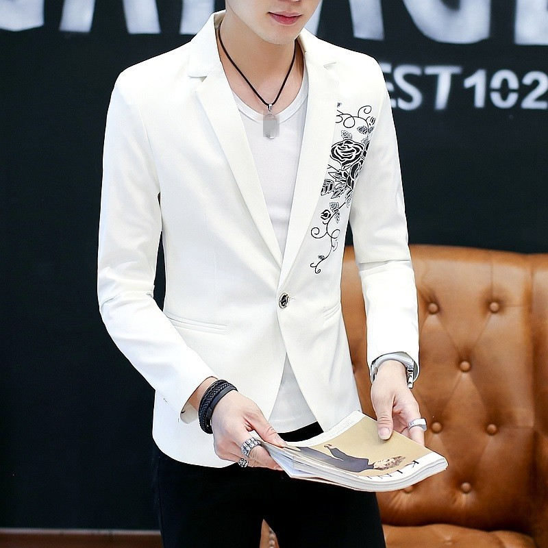 Embroidery Flower Blazer Men Casual Single Button Slim Fit Jacket Suit England Style Office Party Fashion Blazer Coat Male M-2XL