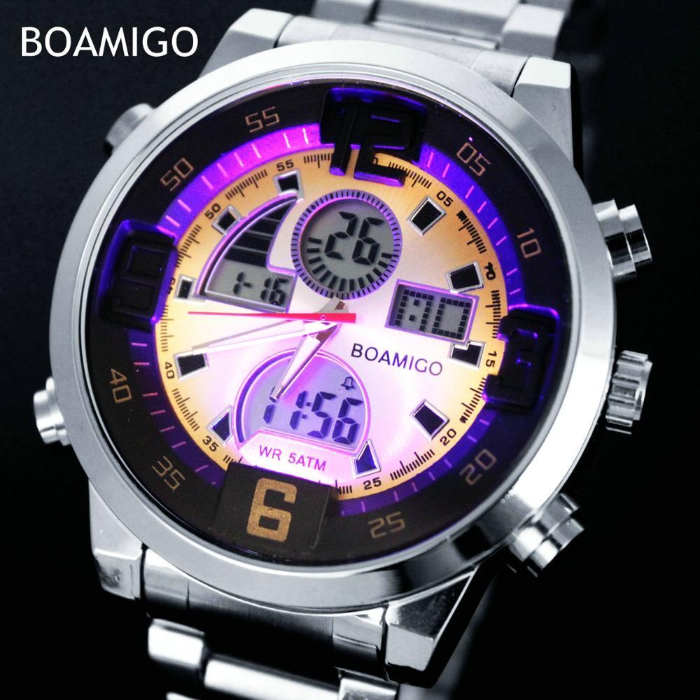 2018 New Boamigo Luxury Brand Men Led Digital Fashion Sport Watches Male Waterproof Quartz Date Wristwatches Relogio Masculino