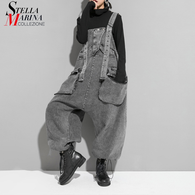 New Korean Style Women 2019 New Winter Fashion Gray Retro Romper Jumpsuit Ladies Suspenders Pants Loose Overalls Streetwear J217