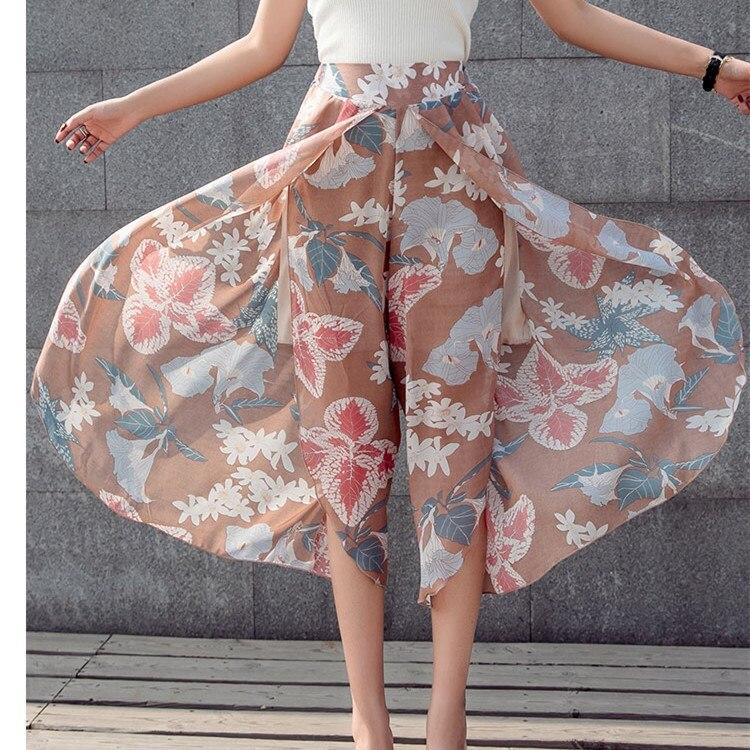 Fashion Plus Size Nice Summer Flower Print Pants Women Vintage High Waist Chiffon Wide Leg Pants Casual Loose Beach Trousers