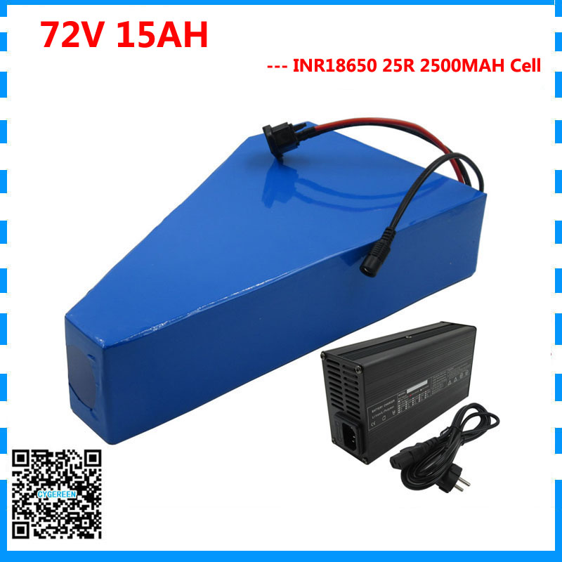 Free customs tax 2500W 72V 15AH battery pack 72V 15AH triangle battery 72 V bicycle battery use Samsung 25R 2500mah cell 40A BMS