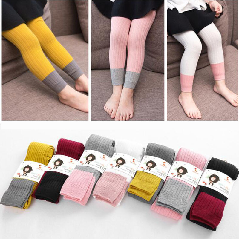 New Spring Autumn Warm Girl Leggings Knitted Cotton Baby Girls Pants Mix Color Children Kids Trousers For 1-8T 1