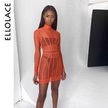 Ellolace Sexy Hot Mesh Transparent Mini Dress Women Long Sleeve Turtleneck Striped Dresses 2019 Fashion New Orange Bodycon