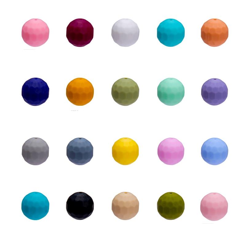 10 pièces multi-facettes Silicone perles 15mm écologique sensoriel à croquer collier de qualité alimentaire maman soins infirmiers bijoux à bricoler soi-même bébé dentition