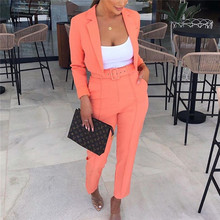 Yesexy 2019 Solid Color Autumn Winter Women Blazer Pants Set Notched Neck Women