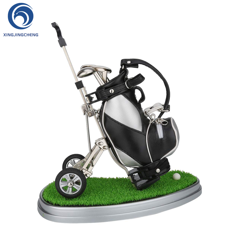 Unique Golf Pen Holder With Trolley Desk Decor Organizer Leather Golf Gifts For Men Fathers Golfer Fans Coworker Christmas