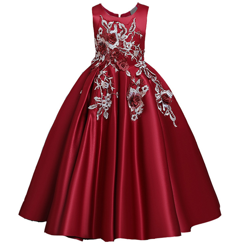 Пышные платья для девочек; платье для первого причастия; детское платье для свадебной вечеринки; платье для дня рождения; кружевные вечерние платья с лепестками для девочек; длинное платье для торжеств