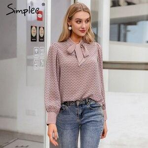 Image 1 - Simplee Casual geometric long sleeve women blouse shirt Summer spring neck tie blouses shirt Elegant work wear loose female top