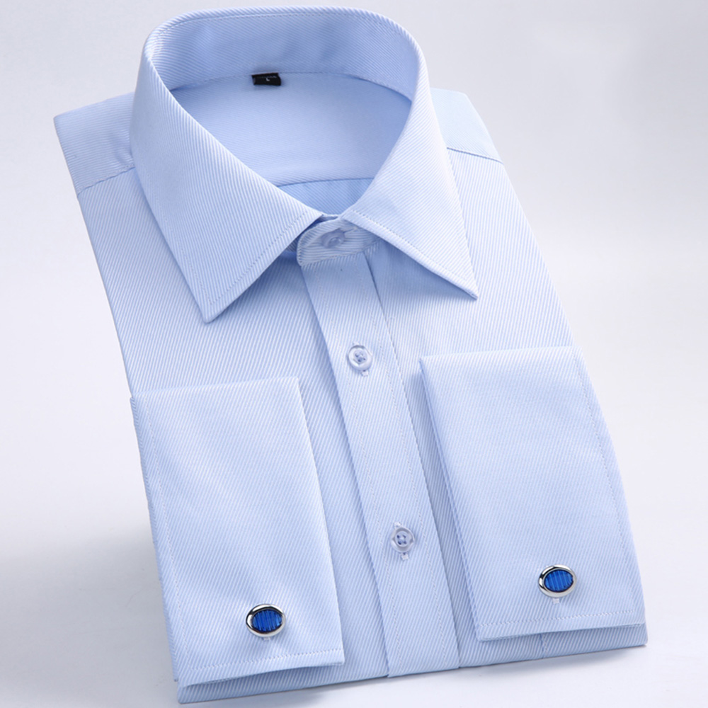 Men's Dress Shirts Loose French Cuff Regular fit Luxury Striped Business Long Sleeve Cufflinks Social Plus Size Men Shirt 6XL 5
