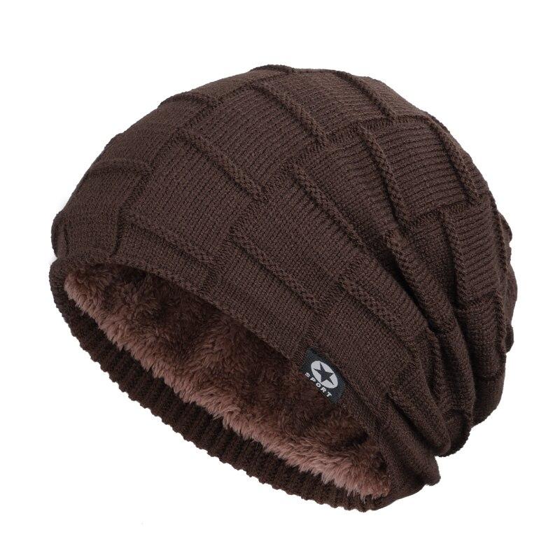 Зимняя мужская шапка с пятизвездочными звездами, шарф плюс бархатная мужская вязаная шапка, Теплая Лыжная маска, маска, головной платок, шапка, высококачественный хлопковый нагрудник, модная новинка - Цвет: Coffee-2