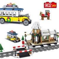 902pcs Winter Village Train Station Car Building Blocks Compatible Legoinglys Creators City Bricks Friends Toys for Children