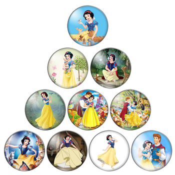 Beauty Princesses Snow White 8mm/10mm/12mm/18mm/20mm/25mm Round photo glass cabochon demo flat back Making findings ZB0543