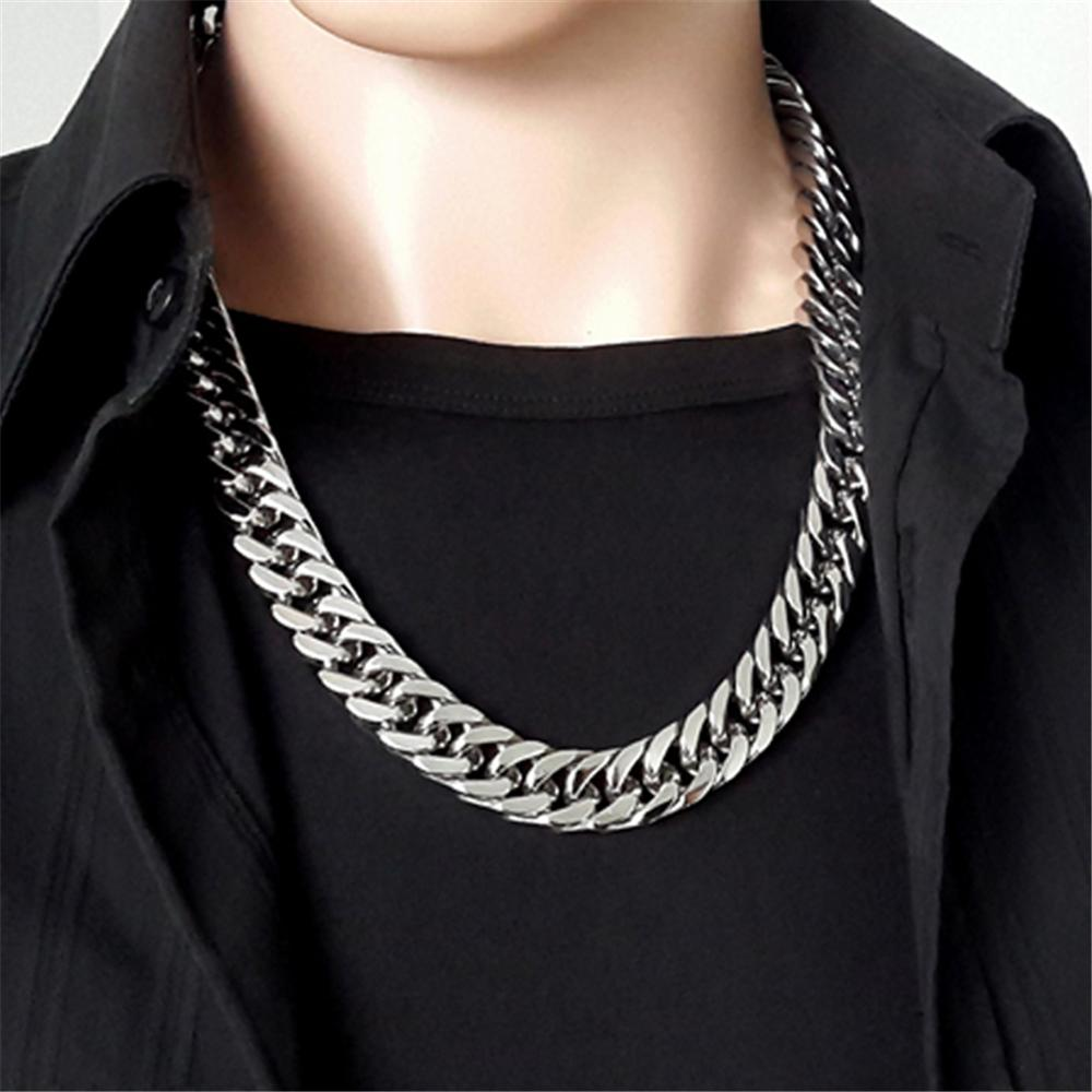 Polished Men's Necklace Wide 6/8/10/12/14/17MM Stainless Steel Silver Color Double Cuban Curb Chain Women's Necklace or Bracelet