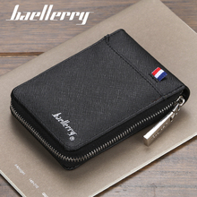 fashion zipper Men's Wallet  small short Credit Card Holder for male vintage mini man purse with coin pocket