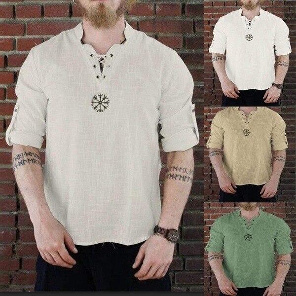 European Viking Pirate Medieval Costume Linen National Loose Blouse Tee Tops Men Knight Cosplay V-neck Long Sleeve Retro T-shirt