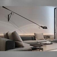 Modern Adjustable Long Swing Arm Wall Lamp Lights For Reading 360 Degree Rotatable Flexible Vintage Black Metal Wall Lamp LED