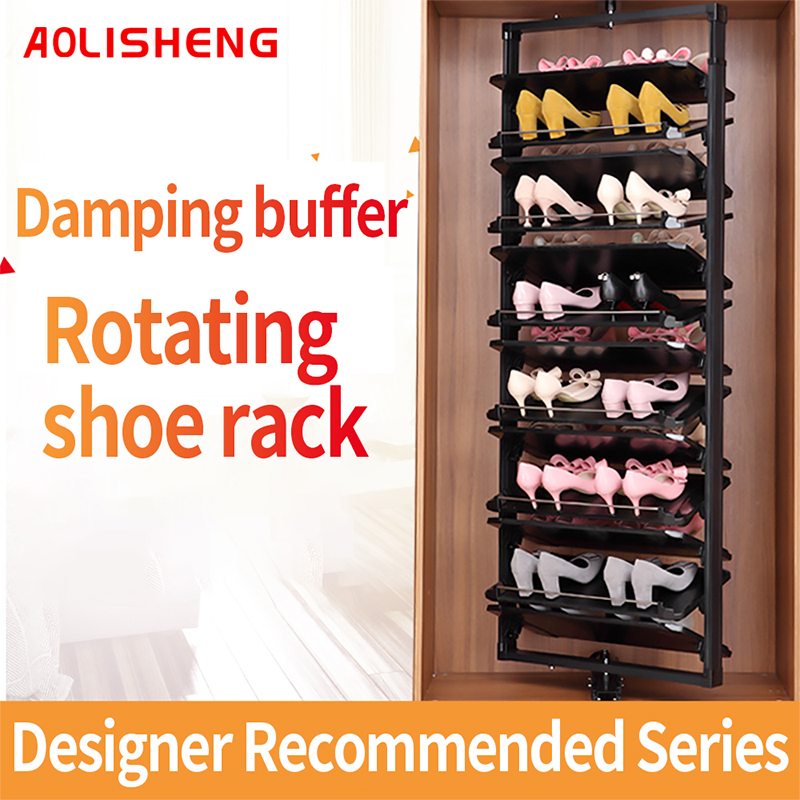 aolisheng 360 degree rotating shoe rack household multi layer adjustable storage telescopic rotary cabinet hardware