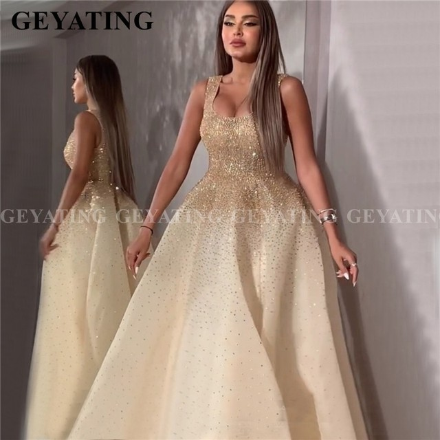 Dubái vestido de noche árabe de cristal con cuentas doradas, vestido Formal de talla grande con escote cuadrado de lujo, para baile de graduación turco, 2020