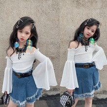 2020 spring new western style two-piece personality trumpet sleeve chiffon shoulder shirt fringed denim bag hip skirt set