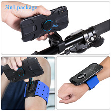 3 In 1 Wristlets 360 Rotating Running Mobile Phone Arm Belt Bag Sports Armband Wrist Bag Bicycle Cycling Wristlet Breathable