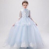 Korean Sweet Children Girls Appliques Flowers Birthday Wedding Party Princess Long Tail Fluffy Dress Model Catwalk Piano Dress
