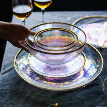 Цветная окрашенная Золотая стеклянная чаша тарелка семь цветов