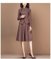 Women 2 piece set Winter Elegant Vintage runway Suit skirt suit sets Female Clothes