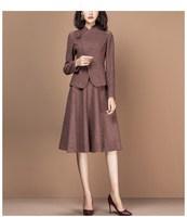 Women 2 piece set Winter Elegant Vintage runway Suit skirt suit sets Female Clothes