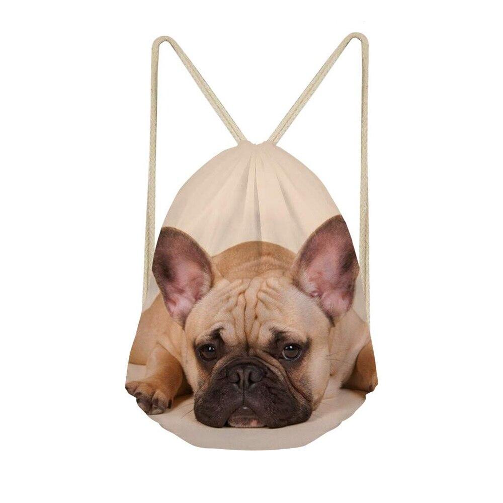 Cute 3D French Bulldog Print Women Drawstring Backpack Dog Pattern Mochila Bolsa Man Bags Travel Storage School Drawstring Bag