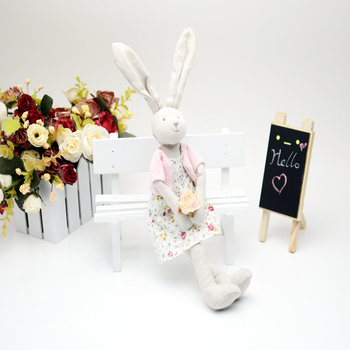 Luxury Stuffed Animal Bunny Plush Toys in Pink Cloth Lovely Kids Present Baby Appease Toy Handmade Cotton Linen Rabbit Girl Doll fancytrader large plush bunny doll lovely soft stuffed cartoon rabbit kids toys gifts pink purple for chilren 100cm