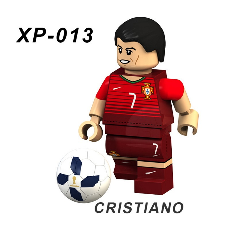 Cristiano Ronaldo Football Team Player Figures Messi Neymar Beckham Building Blocks Figure Bricks Toy Kids Compatible Legoed